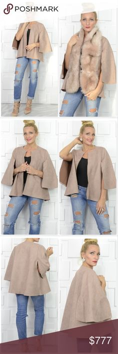 STUNNING FAUX SUEDE CAPE JACKET BRAND NEW   This gorgeous & chic soft tailored luxurious faux suede cape jacket is timeless! The color is amazing! What's not to love? Pair with our multi colored faux fur a one of a kind look!   **FAUX FUR SCARF IS NOT INCLUDED BUT AVAILABLE FOR SALE IN MY BOUTIQUE, IT pairs beautifully with this fabulous jacket!**  Per Designer The majority of Jayley products are one size. Most of them will comfortably fit sizes 6-12, some garments may also fit a size 14…