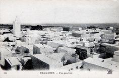 Vue sur la medina et la mosquée Hammamet _ datée de 1951 _ Carte postale ancienne Tunisie