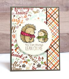 All Occasion Card- Encouragement Card- Fall Card- Hedgehog Card- Cute Cards- Lean on Me Card Autumn Cards, Punch Art, Lawn Fawn, Cute Cards, Homemade Cards, Stampin Up Cards, I Card, Hedgehog, 3 D