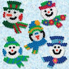 snowmen tinker with iron balls templates - DIY - Do it yourself - Selber Machen - Europaletten - Basteln Mit Holz Pearler Bead Patterns, Perler Patterns, Gingerbread House Patterns, Christmas Perler Beads, Motifs Perler, Peler Beads, Christmas Crafts, Christmas Ornaments, 3d Christmas Tree