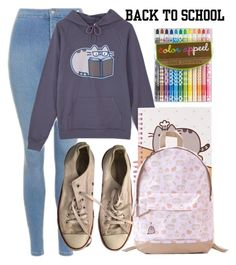 """#PVxPusheen"" by monochramatic ❤ liked on Polyvore featuring Topshop, Pusheen, Converse, contestentry and PVxPusheen"