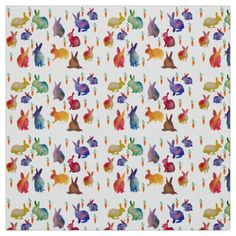 Rabbits and carrots  watercolo art Fabric - watercolor gifts style unique ideas diy