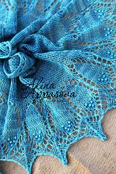 Crescent shape shawl inspired by traditional Haapsalu lace. Knitted from the bottom. Lace first, short rows second. Nupps or beads can be added.