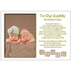 first father's day twins card