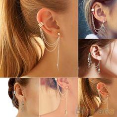 Hot 1PC Punk Silver Tassels Chain Leaf Fish Cross Charms Metallic Ear Wrap ear cuff earrings  2KIB 7FGP BD8I