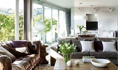 mixing gray and brown sofas - Google Search