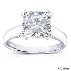 Annello by Kobelli 14k White Gold Cushion-cut Moissanite Solitaire Engagement Ring (Size 6 - 7.5 MM), Women's (solid)