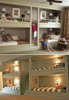 Lots of bunk beds. I love the idea of bunks - maybe because I had bunk beds when I was younger, maybe because of Red Dwarf. Love the central stairway/ladder. Cool Girl Bedrooms, Kids Bedroom, Kids Rooms, Bedroom Ideas, Childrens Bedroom, Extra Bedroom, Shared Bedrooms, Bedroom Decor, Room Boys
