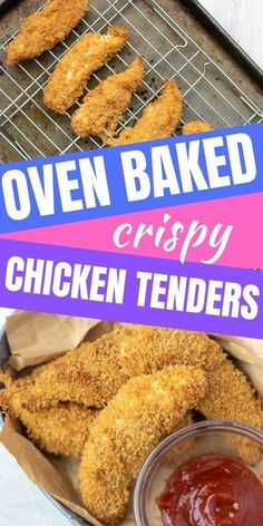 "Your kids will sing your praises when you serve up these EASY Baked Chicken Tenders. These oven ""fried"" chicken strips are breaded in a crispy panko crust and are healthier than the drive thru and what you pick up in the freezer section. Your family will LOVE this easy chicken recipe! Breaded Chicken Tenders Baked, Crispy Oven Baked Chicken, Breaded Chicken Recipes, Homemade Chicken Strips, Fried Chicken Strips, Chicken Strip Recipes, Fries In The Oven, The Best, Freezer"