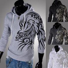 Men's Dragon Tribal Tattoo Long Sleeve Hoodies