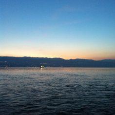 Blick von der Fähre. Meilen, 22.2.2012, 18:24 Uhr.