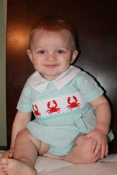 Shrimp & Grits Baby Boy Smocked CRAB Turquoise Bubble - 18m Summer Beach Photos #ShrimpandGritsKids