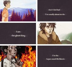 "Percy Jackson, Nico Di Angelo, and Leo Valdez quotes from Percy Jackson and the Olympians and Heroes of Olympus. Tehee oh Leo. Like it seems dramatic, but then Leo is all like,""I'm a super sized Mcshizzle! Percy Jackson Books, Percy Jackson Fandom, Solangelo, Percabeth, Percy And Annabeth, Annabeth Chase, Leo Valdez Quotes, Leo Quotes, Oncle Rick"