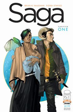 """Saga, the story of deserters from two warring militaries who elope, have a baby, and go on the run through alien landscapes. Witty and light-hearted through the angst, this is a love story/sci-fi fantasy romp. The Onion A.V. Club calls Saga """"the emotional epic Hollywood wishes it could make."""" Start with Saga, Vol. 1."""