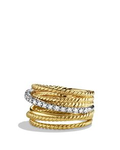 David Yurman Crossover Wide Ring with Diamonds in Gold   Bloomingdales's
