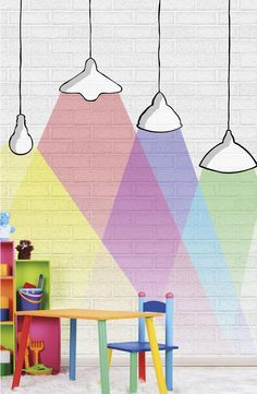 Kids #wallpaper INVASION OF THE LIGHT BULBS - @wallpepperit