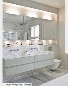 Looking for a new bathroom mirror? We've got lots of beautiful mirror ideas to glam up your bathroom! This will transform your boring mirror into something gorgeous! Bathroom Mirror Lights, Bathroom Mirror Cabinet, Mirror Cabinets, Washroom, Bathroom Cabinets, Mirror With Lights, Bathroom Furniture, Bathroom Storage, Bathroom Colors