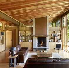 Newberg Residence in Newborn, Oregon designed by Cutler Anderson Architect; Wooden Cabins, Wooden House, Log Cabins, Cabin Design, House Design, Steel Framing, Oregon, Glass Cabin, Steel Structure