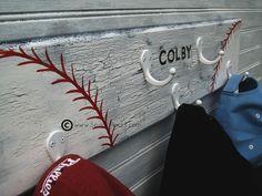 Little Boys Baseball Room | Little League Baseball Softball Hat Rack Hanger 5 by sportyracks, $45 …