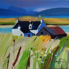 Pam Carter :: Chalets et fleurs sauvages Seascape Paintings, Landscape Paintings, Glasgow School Of Art, Online Painting, Beautiful Paintings, Abstract Landscape, Art Techniques, Lovers Art, Painting Inspiration