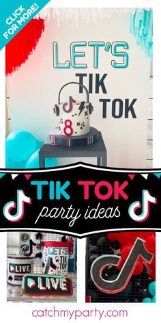Take a look at this cool Tik Tok birthday party! The cookies are fantastic! See more party ideas and share yours at CatchMyParty.com  #catchmyparty #partyideas #tiktok #tiktokparty #girlbirthdayparty