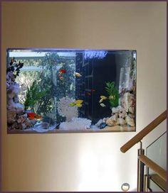 For the addition: living room/ third bedroom through wall fish tank Aquarium Design, Wall Aquarium, Saltwater Aquarium Fish, Home Aquarium, Fish Aquarium Decorations, Aquarium Ideas, Marine Fish Tanks, Fish Tank Design, Amazing Aquariums