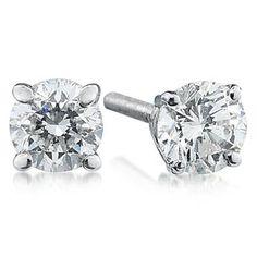 Szul: 1.50 ct.tw Round Diamond Solitaire Earrings in 18k White Gold $6,539.00