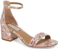 Steve Madden Irenee Ankle Strap Sandal in Pink. A block-heel sandal featuring a slender ankle strap makes for a sleek, modern finish to your favorite looks.. #shoes#fashion#style#stylish#trendy