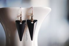 NEW  ICICLES Earrings  Swarovski Jet Spikes by blackpersimmons