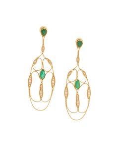 Fernando Jorge Fluid Diamond & Emerald Cross Earrings