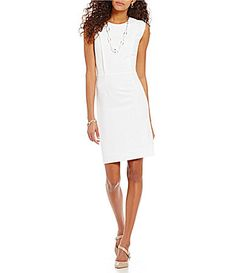 Preston and York Bianca Round Neck Sleeveless Solid Crepe Sheath Dress #Dillards
