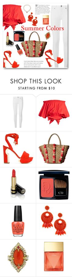 """""""Coral and White"""" by ahapplet ❤ liked on Polyvore featuring Burberry, Saloni, Nicholas Kirkwood, Seafolly, Gucci, Christian Dior, OPI, Kenneth Jay Lane, Cathy Waterman and Michael Kors"""