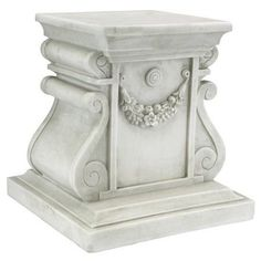 Designed to fit most Toscano statuary, this regal plinth elevates your home or garden art for best display. Cast in quality designer resin and fraught with architectural detail, this faux-stone base is as decorative as it is functional. Outdoor Statues, Garden Statues, Garden Sculptures, Garden Side Table, Tall Plant Stands, Display Pedestal, Crushed Stone, Faux Stone, Garden Ornaments
