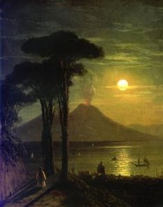 The Bay of Naples on a Moonlit Night and Vesuvius - Ivan Constantinovich Aivazovsky (1840) The State Russian Museum - Saint Petersburg Painting - oil on canvas
