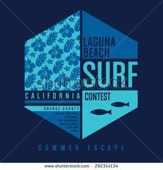 Surf California Typography, T-Shirt Graphics, Vectors, Flowers - 292314134…