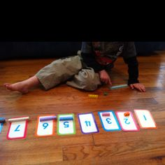 Math-U-See blocks with number flash cards - preschool number recognition activity.