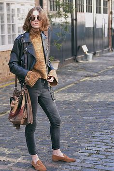 Get this look: http://lb.nu/look/8205039  More looks by Xenia Klein: http://lb.nu/xenia_antonina  Items in this look:  Zara Bell Sleeve Sweater, Zara Faux Leather Jacket, Topshop Cain Jeans, Zara Suede Loafers, Zara Bucket Bag   #classic #retro #vintage