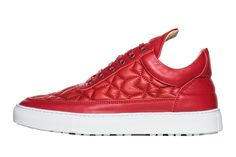 FILLING PIECES LOW TOP LEATHER QUILT 'RED'