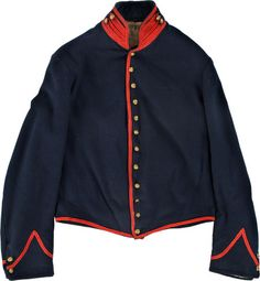 """Cincinnati Depot Artilleryman's Shell Jacket. This is the classic """"uniform jacket of dark blue cloth"""" outlined in the U. S. regulations of 1861 for enlisted men serving in the artillery. The coat is fully trimmed in scarlet worsted tape and retains twelve original small general service buttons on the front, along with all four buttons at the collar and on the functional cuffs."""