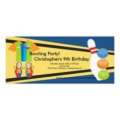 Shop Bowling Birthday Party Invitation Retro created by celebrateitinvites. Bowling Party Invitations, Birthday Party Invitations, 9th Birthday, Birthday Parties, Birthday Ideas, Thank You Stickers, Zazzle Invitations, Invitation Design, Your Cards
