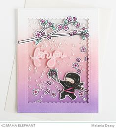 Hi all! Today I want to share with you my card for Mama Elephant  Stamp Highlight featuring Tiny Ninjas . This stamp set is sooo cute!!! So ...