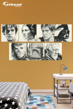 These Star Wars inspired artworks on the wall add a really cool and imaginative element in this super creative and fun Star Wars inspired bedroom. SHOP Fathead removable vinyl wall decals at  http://www.fathead.com/star-wars/star-wars-movies/star-wars-sketches-collection-wall-decal/ | DIY Star Wars Bedroom Ideas for Boys + Kids | Home Decor | Teen | Man Cave | Baby + Toddler Room | Fathead Wall Decals
