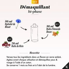 This two-phase make-up remover recipe offers infinite softness to your skin. This two-phase make-up remover recipe offers infinite softness to your skin. Beauty Make Up, Beauty Care, Diy Beauty, Beauty Hacks, Beauty Tips, Beauty Skin, Beauty Room, Face Beauty, Homemade Beauty