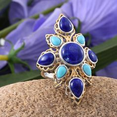 Royal Jaipur Collection Lapis Lazuli (Rnd 5.00 Ct), Arizona Sleeping Beauty Turquoise, Ruby Ring in 14K YG and Platinum Overlay Sterling Silver Nickel Free (Size 7.0) TGW 12.28Cts.
