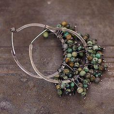 summer sale 10 % off hoop earrings • African Turquoise •  sterling silver • big earrings by ewalompe on Etsy https://www.etsy.com/listing/167793861/summer-sale-10-off-hoop-earrings-african