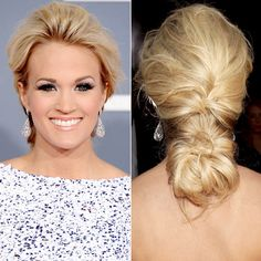 WHY WE LOVE IT: Carrie Underwood created a thick, braid-bun hybrid by twisting her blond strands below her plait.