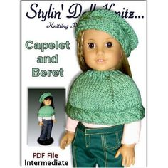 Capelet and Beret for American Girl Doll by designer Jo MacKinnon.