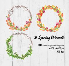 3 Spring Wreath decoration digital transparent high Wreath Watercolor, Watercolour, Tulips, Clip Art, Hand Painted, Wreaths, Graphic Design, Digital, Decoration