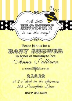 Bumble Bee Baby Shower Invitations Digital or by noteablechic, $9.50