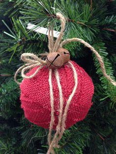 DIY burlap ribbon, jute, & jingle bell rustic Christmas ornament idea photo.
